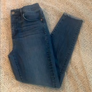 LOFT high waist skinny frayed hem jeans, size 2P